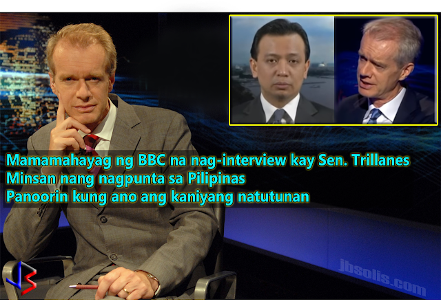"Almost everyone who has access to the internet is now familiar with Senator Trillanes' infamous interview fiasco with BBC Anchor Stephen Sackur in his popular show HARDtalk.  Described as an experienced interviewer, Sackur went straight to business and threw tough questions to the senator. Viewers immediately noticed how Trillanes' answers were indirect and sometimes not related at all.  One point people noticed is how Trillanes' actually denied the existence of a national drug problem, saying the population of drug users in the Philippines is very low, even saying that most drug users use marijuana and not ""shabu"" or methamphetamine. This was far from the facts and numbers as compiled by the Philippine Drug Enforcement Agency and obviously researched by HARDtalk.  In an embarrassing turn of events, Sackur asked Trillanes if he was a democrat - someone who is committed to democracy. Trillanes answers ""I am from the Nacionalista Party"" to which Sackur cuts him off saying he was not asking about party affiliation.  Midway in their interview, Sackur pointed out that President Duterte actually maintains a huge public support, something that any western world leader could only dream of.  Among other topics discussed were the two coup attempts by Trillanes, which Sackur laughingly described as ""pathetic"" and ""lasted only one day."" At that point, viewers are realizing that Stephen Sackur actually knows what he is talking about, and not simply taking the senator's answers as facts.  Truth is, unlike many journalists who report about events in the Philippines, Stephen Sackur has been to the country himself. It was in 2015, before President Duterte became president.  The documentary starts with Sackur driving around Manila at night. He goes on to visit a call-center office - one of the fastest growing industries in the Philippines. Pinning the fact that the Philippines is one of the fastest-growing economies in Asia, Sackur correctly points out that the biggest single contributor to this economic growth is the millions of OFWs abroad.  He goes on to visit a shanty town, showing the poverty-stricken side of the country. He's even visited inside one family's house to see their condition. The documentary is really expansive, since he was able to link the existence of poverty with the fast population growth.  Sackur goes on to interview a head of the Catholic Church, to know why the Church is not supporting the government's efforts to control the population by Family Planning.  The documentary's focus was the contrast of economic growth against poverty in the Philippines, it did touched a little on crime and drug use, especially by the youth.  It is important to know that, when it comes to asking questions, Mr. Sackur knows his stuff, especially since we have seen him go to the Philippines and do his own research.  So who is Stephen Sackur? Stephen began working at the BBC as a trainee in 1986. He has been assigned to different parts of the world and in war zones.  Sackur became the regular host of the HARDtalk in 2004. He has interviewed prominent international personalities including President Hugo Chávez of Venezuela, President Luiz Inácio Lula da Silva of Brazil, Prime Minister Sheikh Hasina of Bangladesh, President Felipe Calderón of Mexico, President Shimon Peres of Israel, former Malaysian Prime Minister Dr. Mahathir Mohamad, President Jalal Talabani of Iraq, US vice-president Al Gore, US President George W. Bush and a host of other leaders and politicians from around the world.  Sackur was named 'International TV Personality of the Year' by the Association for International Broadcasting (AIB) in November 2010 and was nominated as  'Speech Broadcaster of the Year' at the Sony Radio Awards 2013."