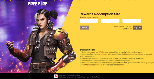 Redeem Code Free Fire Singapore Server New Update Today 2021