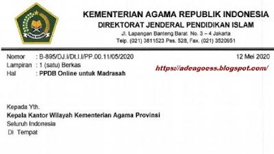 Download SE Himbauan Pembuatan Layanan PPDB Online Madrasah TP 2020/2021