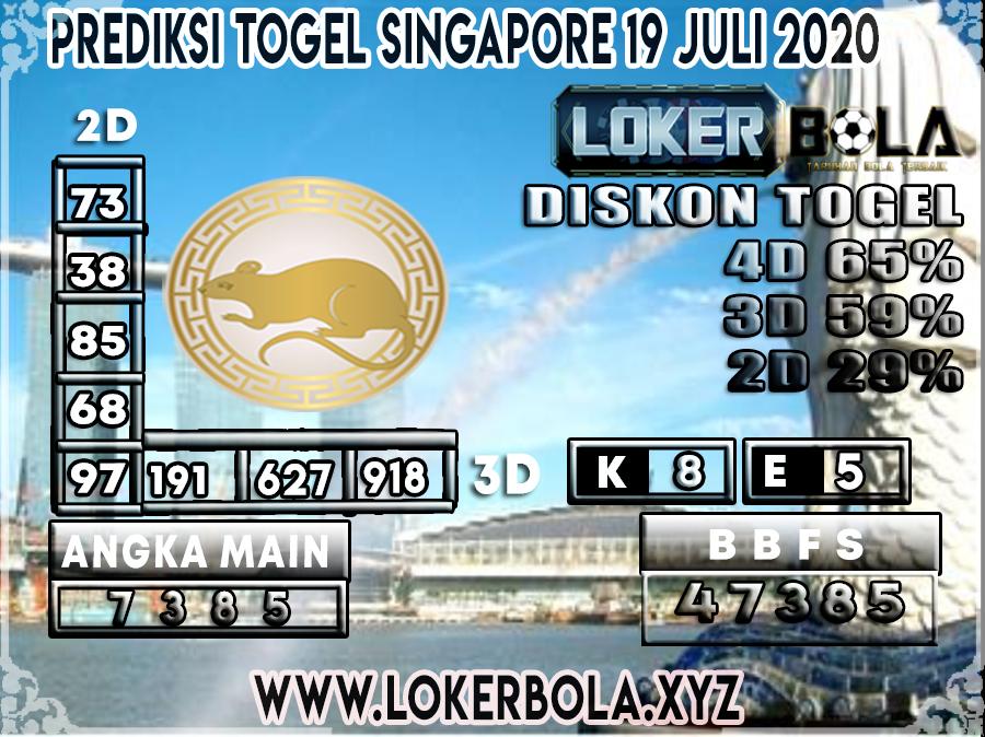 PREDIKSI TOGEL LOKERBOLA SINGAPORE 19 JULI 2020