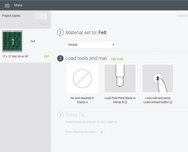screen shot of blade options in cricut design space