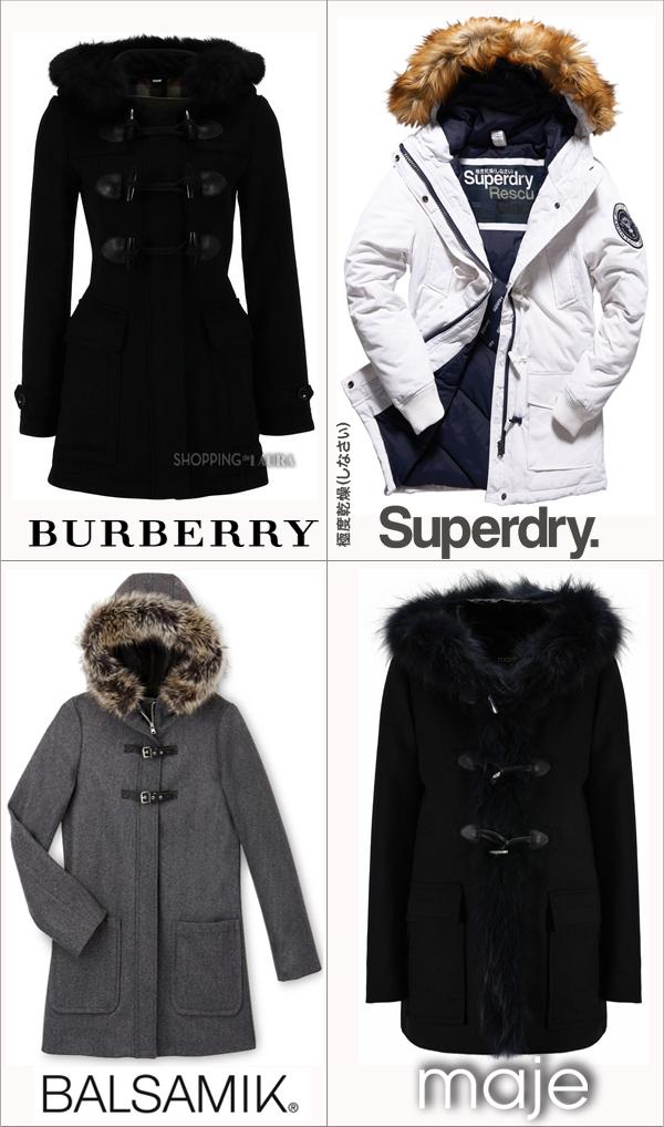 Duffle coat femme avec capuche en fourrure BURBERRY - SUPERDRY - BALSAMIK - MAJE