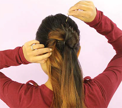 Infinity Bun hairstyle tutorial setp 4