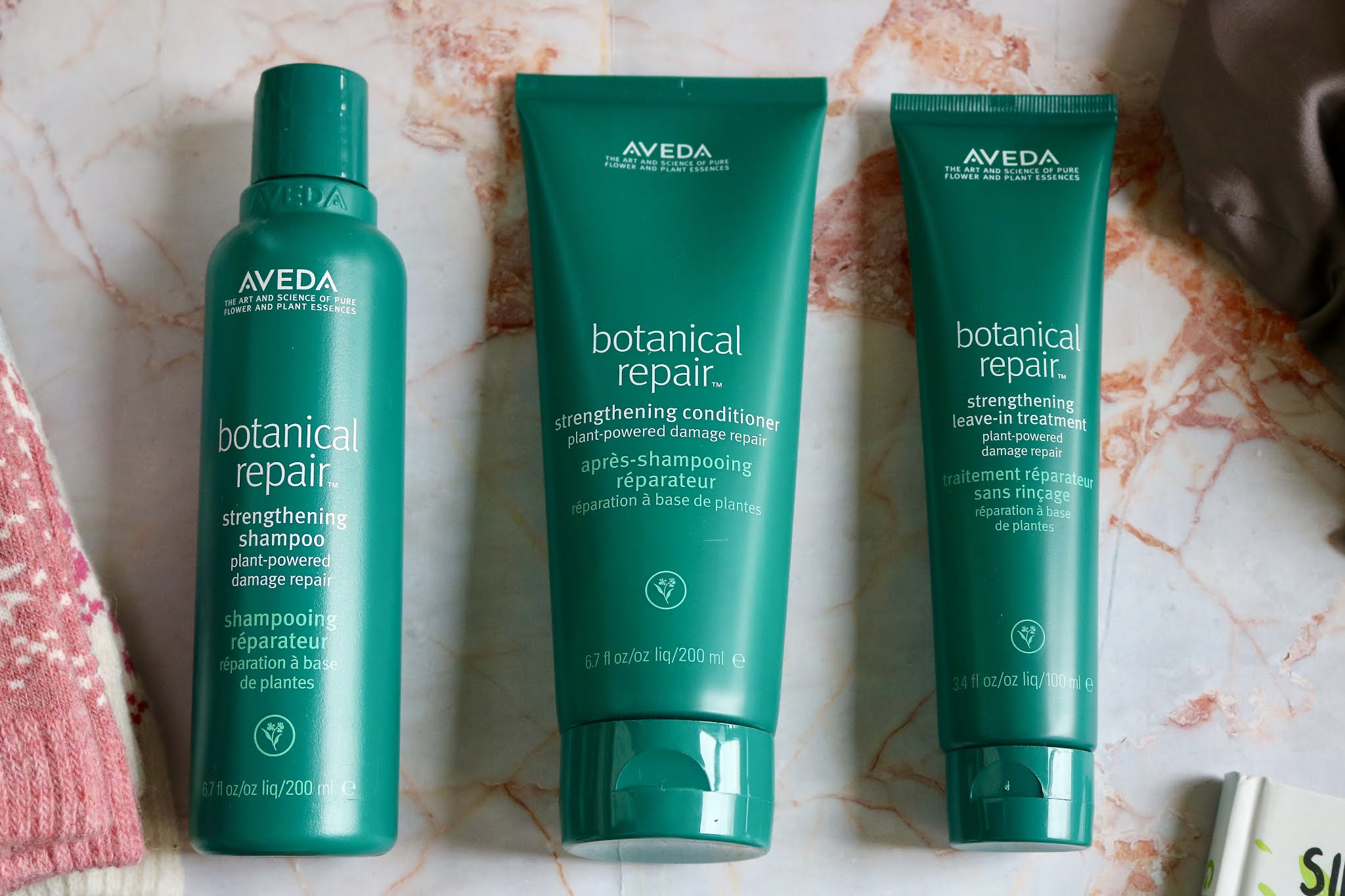 Aveda Botanical Repair Strengthening Shampoo £26, Conditioner and Leave In Treatment both £28