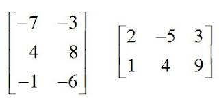 matrizes de ordem 2x3 e 3x2