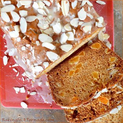 Apricot Almond Quick Bread, chopped apricots, nectar, and sliced almonds featured in a fall flavored quick bread. | Recipe developed by www.BakingInATornado.com | #recipe #bread