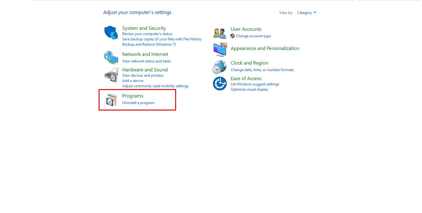 control panel uninstall aplikasi Windows 10