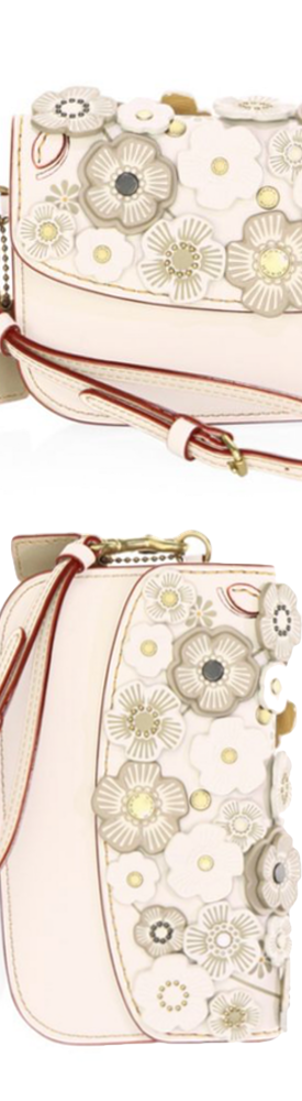 COACH 1941 Floral Leather Clutch in Ivory
