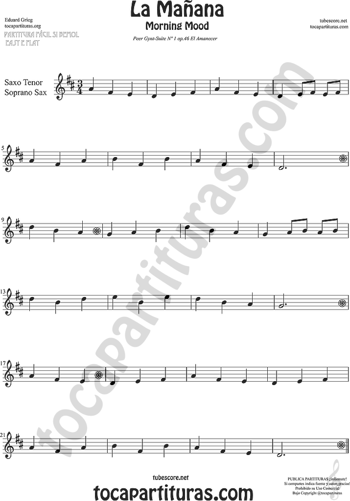 tubescore: Morning Mood Sheet Music for Flute, Violin, Alto