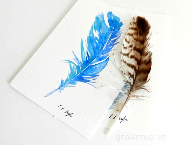 Original Watercolor Blue Bird Feather: growcreativeblog