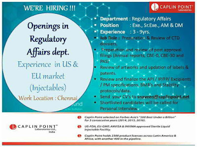 Caplin Point Laboratories - Urgent Job Openings for Regulatory Affairs
