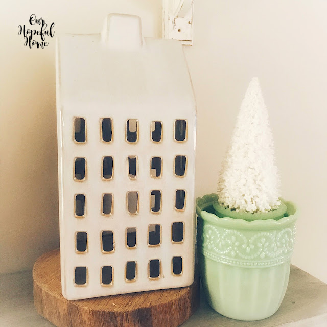 white porcelain house windows candle holder jadeite bottle brush tree