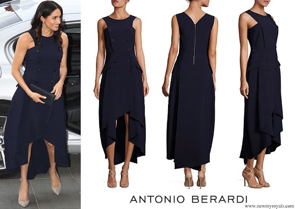 Meghan Markle wore Antonio Berardi Navy Double Breasted Sleeveless Dress