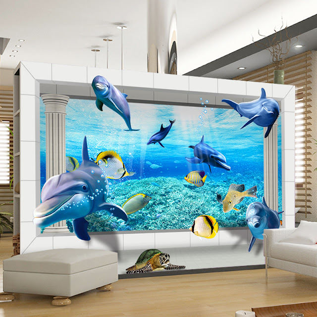 Dolphin Undersea wall mural 3d wallpaper animal underwater world