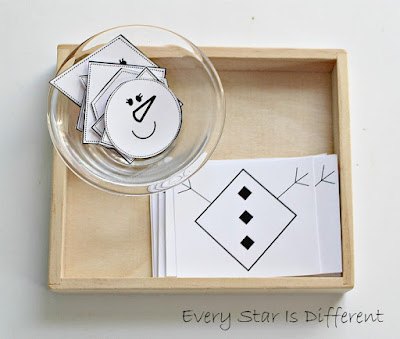 Snowman shapes match up (free printable)