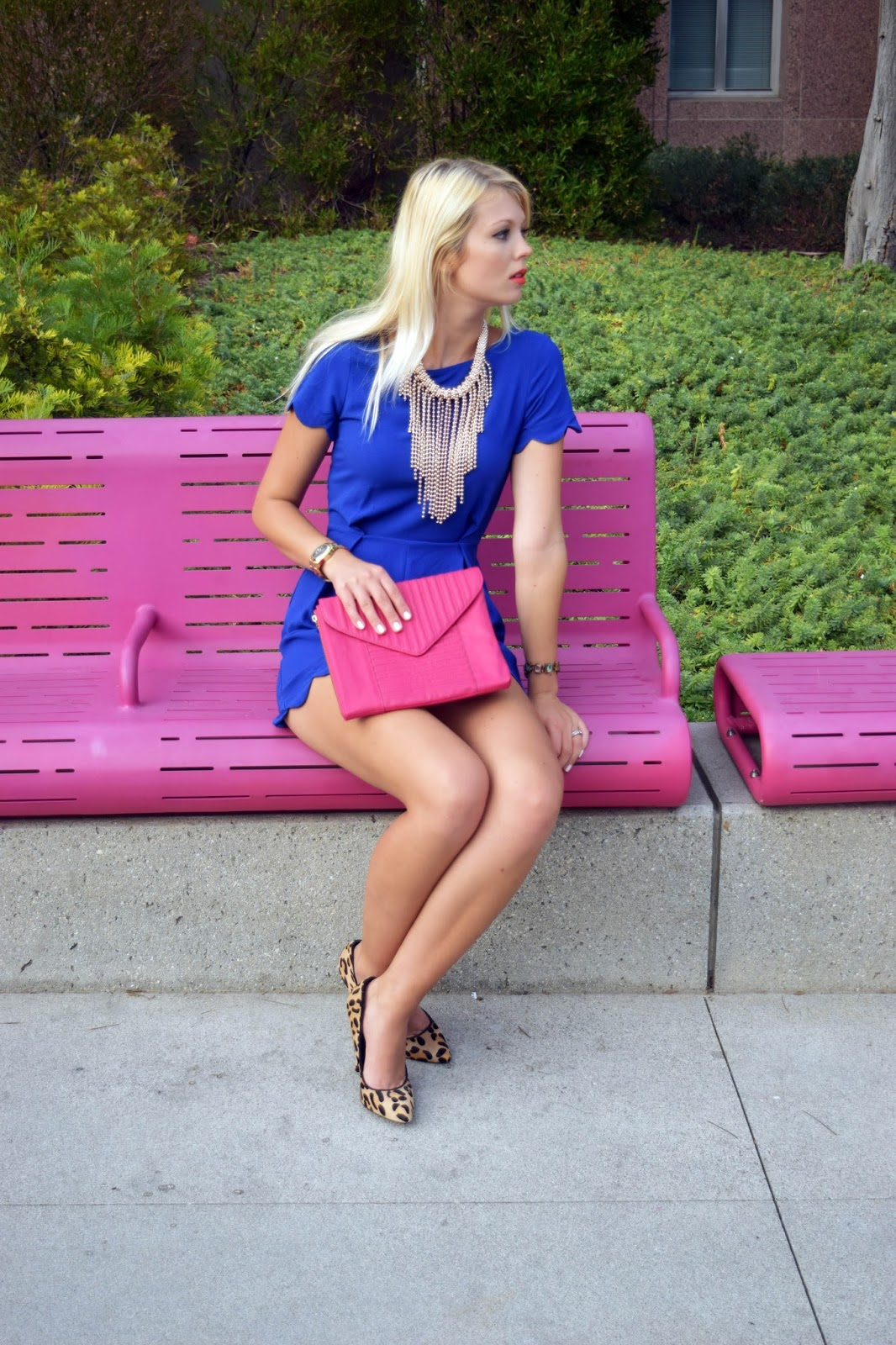 Blue, jumpsuit, romper, jumper, how to style a jumpsuit, pink clutch, leopard heels, gold statement necklace