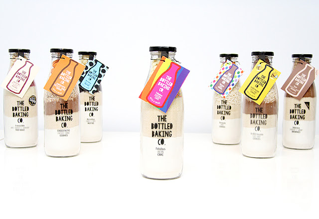 The bottled baking co baking selection. They are bottled filled with dry baking ingredients for muffins, brownies and cookies