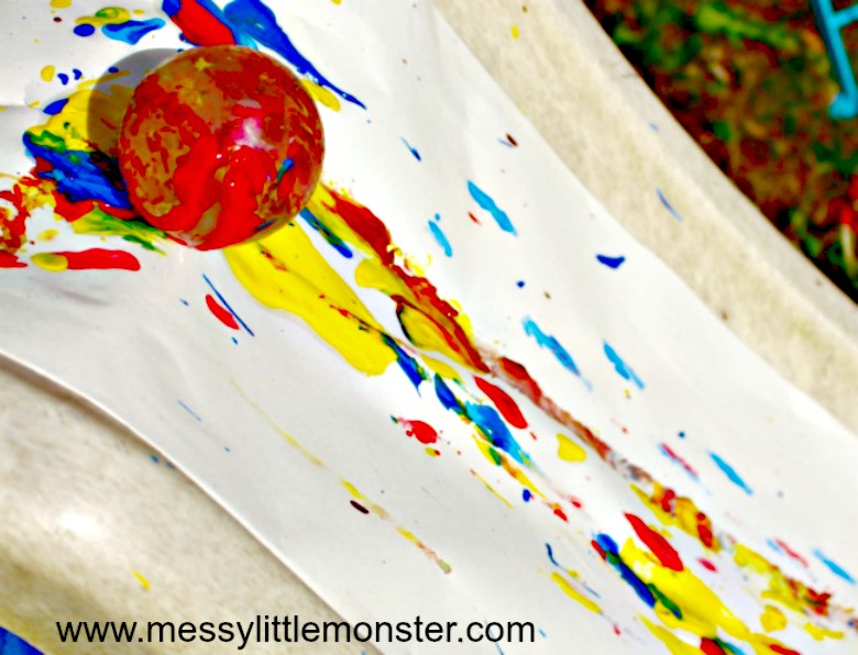 Paint rolling art activity - summer camp ideas