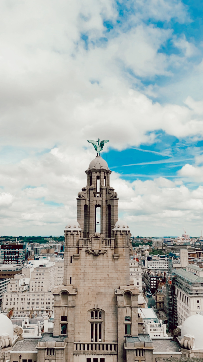 view of Liverbird and Liverpool skyline from RLB360 Liverbuilding tower tour review