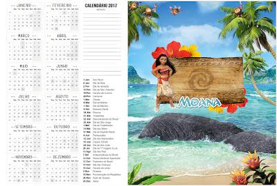 Calendario 2017 para imprimir gratis de Moana.