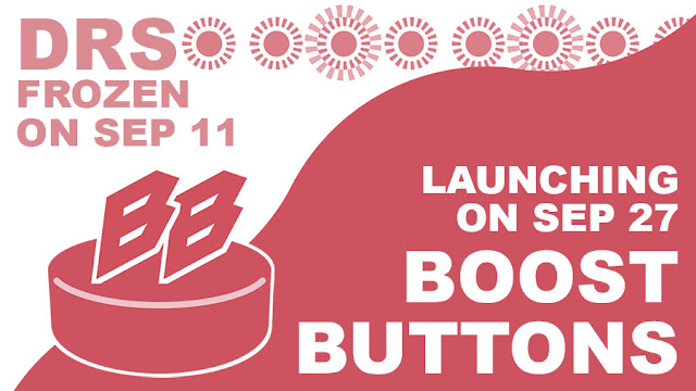 DRS frozen on Sep 11. Launching on Sep 27: Boost Buttons