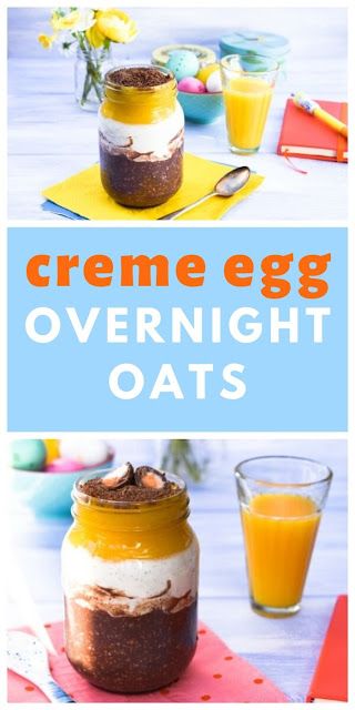 Creme Egg Overnight Oats - an Easter breakfast recipe with mango. #overnightoats #cremeeggrecipes #easterrecipes #cremeegg #oats