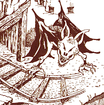 Artist's conception of the vampire bat from the 1980 text adventure, Zork I.  He is at the entrance to a coal mine.