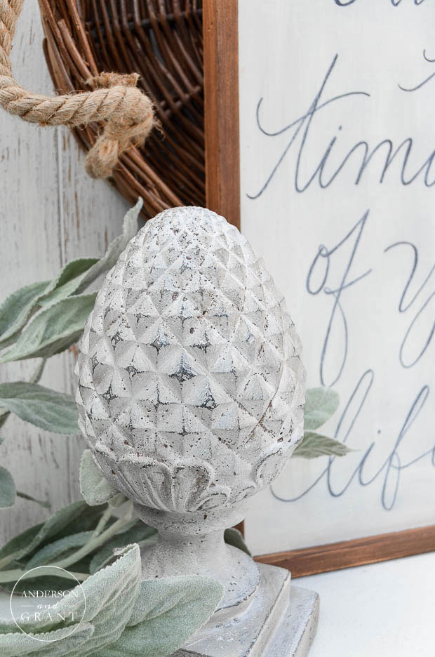 Decorate with a cement finial painted with Miss Mustard Seed's milk paint.  ||  www.andersonandgrant.com