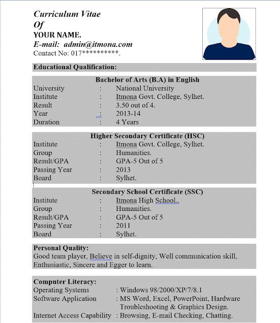 2 page cv format for bangladesh