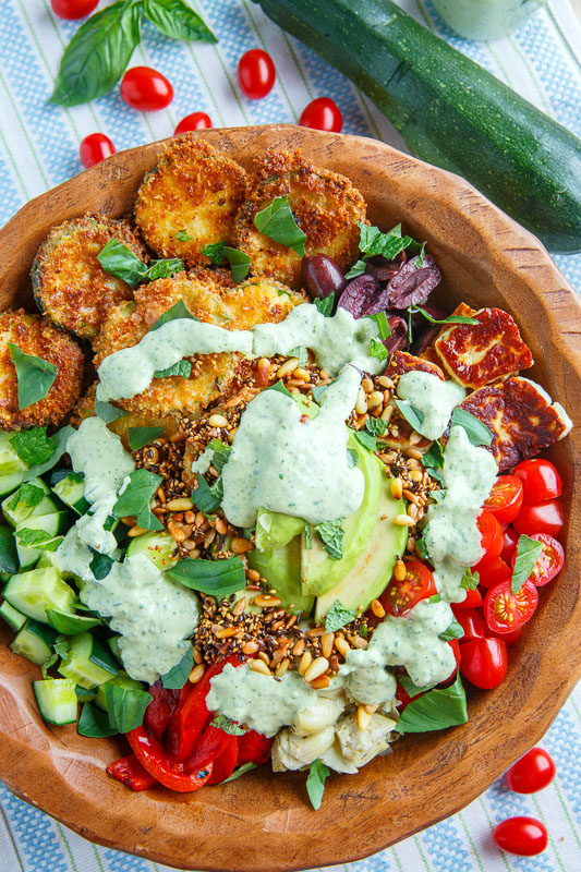 Greek Goddess Grain Bowl with Fried Zucchini, Halloumi and Toasted Seeds