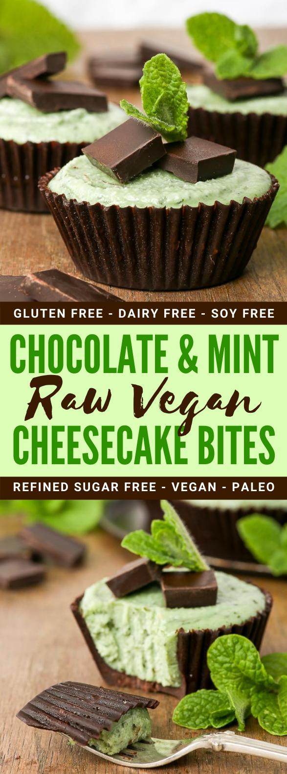 Chocolate + Mint Raw Vegan Cheesecake Bites #cake #healthydessert