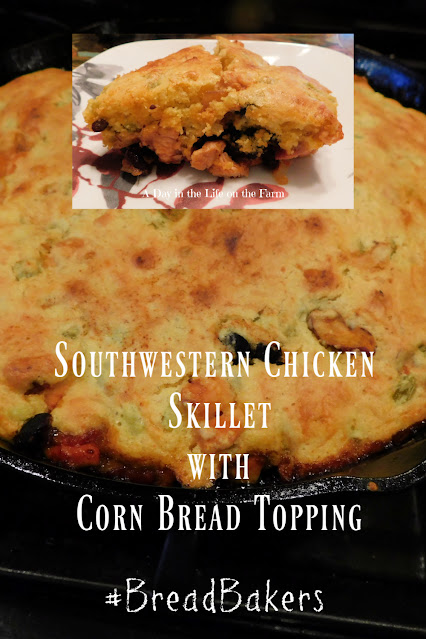 Southwestern Chicken Skillet with Cornbread Topping pin