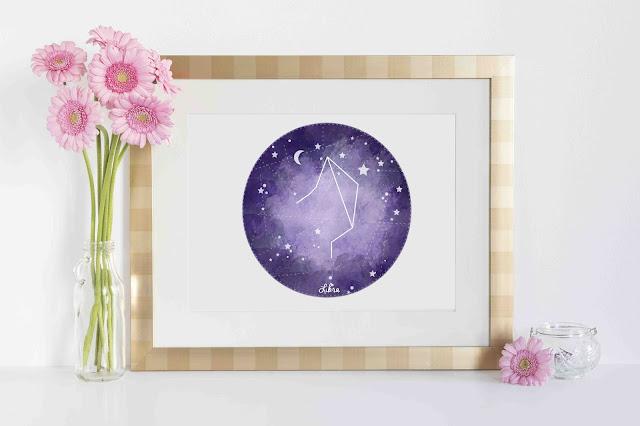 Purple A5 Zodiac Print