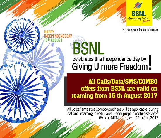 BSNL's Independence Day Offer 2017 : Introduces Roam Like Home for its Prepaid mobile customers in all the circles