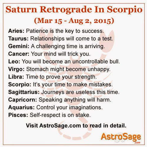 Retrograde motion of Saturn in Scorpio will bring some really big changes to your life this March 15, 2015.