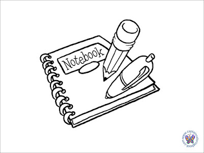 Notepad coloring page download, print or draw coloring notebook
