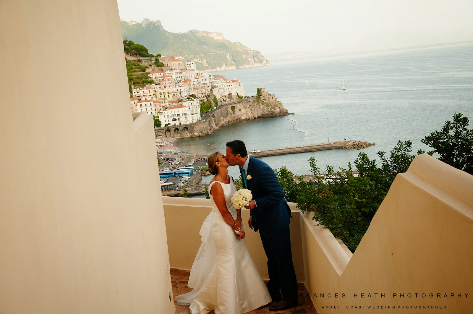 Bride and groom at the Hotel Convento Amalfi
