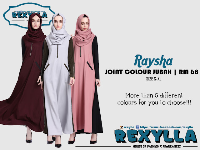 rexylla, joint colour, joint colour jubah, raysha collection