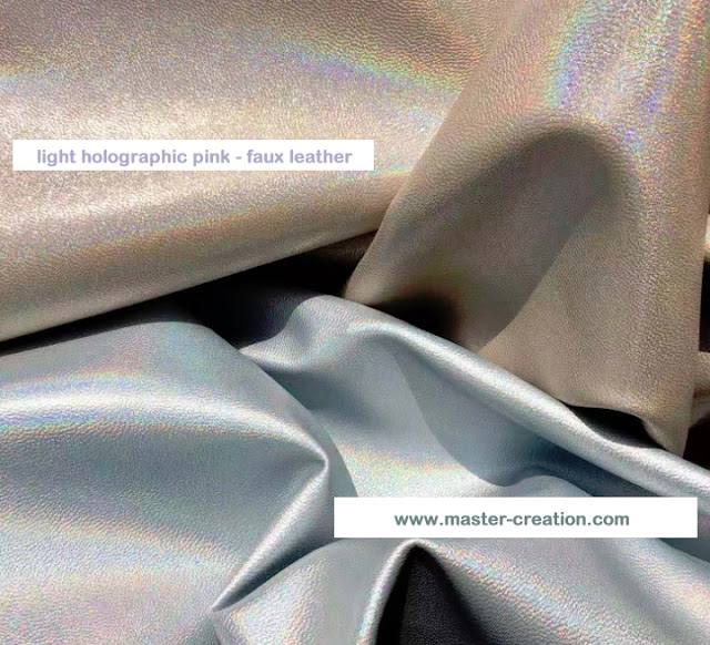 gray and beige holographic leather