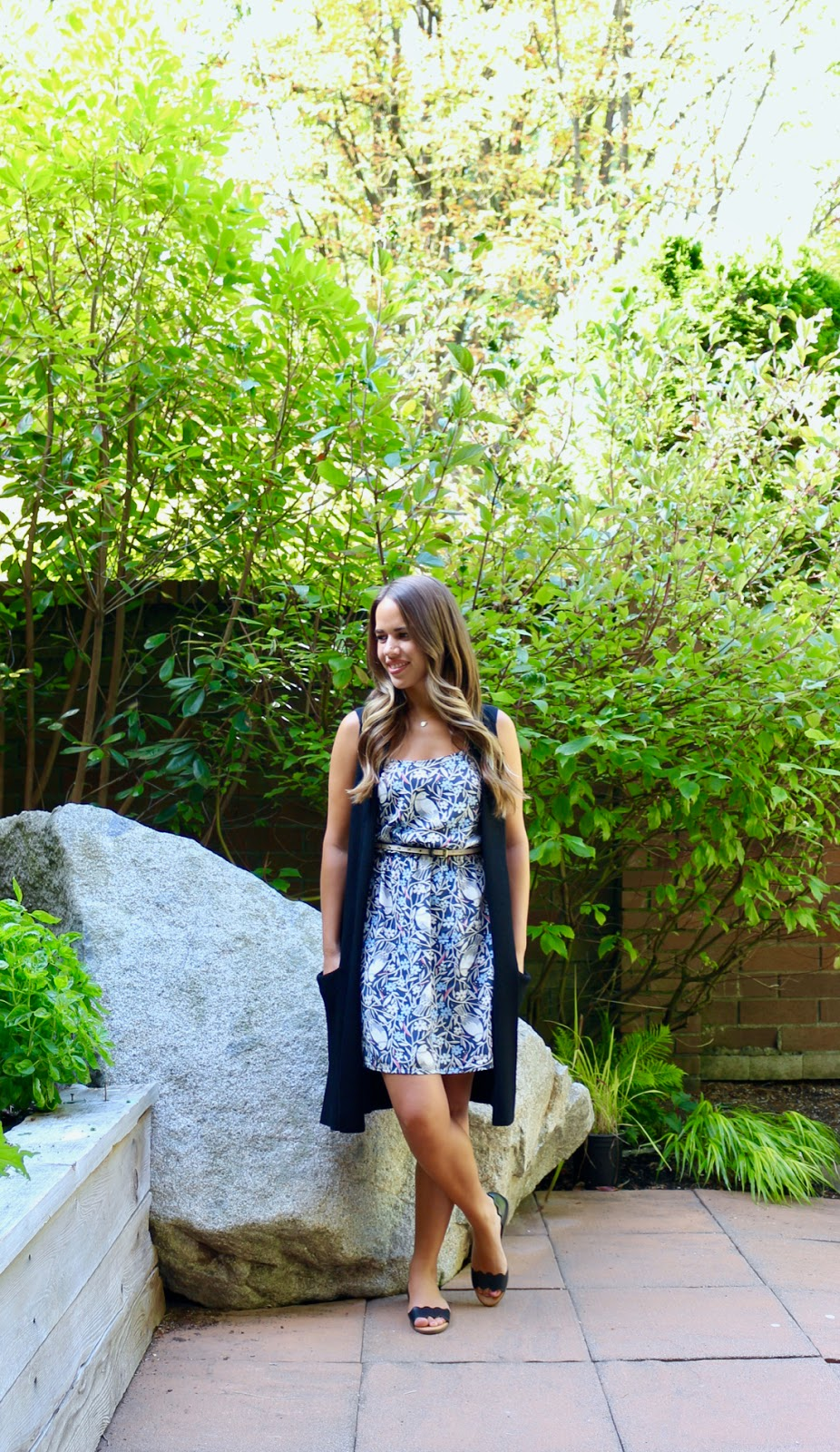 Jules in Flats - Bird Print Cami Dress with Aritzia Vest (Business Casual Spring Workwear on a Budget)
