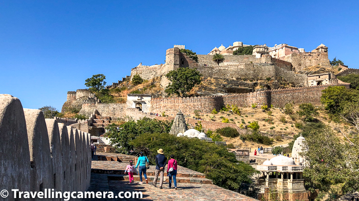 Above photograph shows some of my friends walking on the outer wall of Kumbhalgarh fort while going up towards Badal Mahal, which you see on the topmost part of the photograph. The width of Kumbhalgarh fort wall is 15 feet.