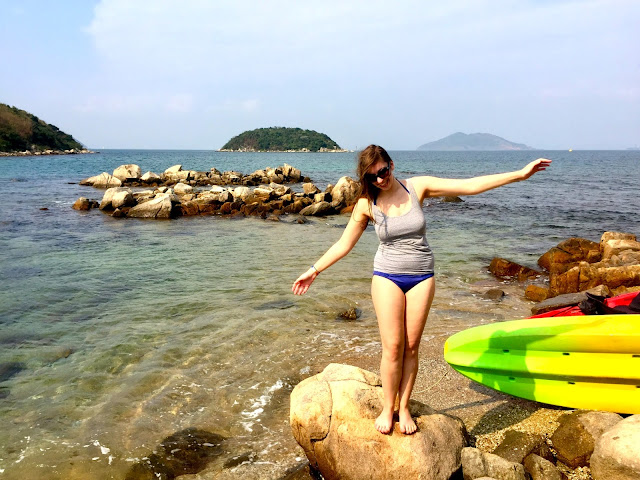 Posing on the rocks while kayaking at Hoi Ha, Sai Kung Peninsula, Hong Kong
