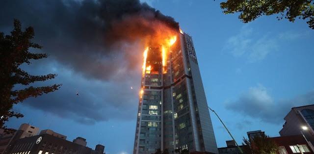Apartemen 33 Lantai Di Ulsan Hangus Terbakar, 88 Orang Dilarikan Ke Rumah Sakit