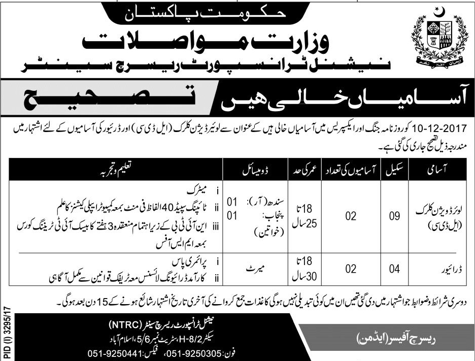 Ministry Of Communications Islamabad Jobs Dec 2017