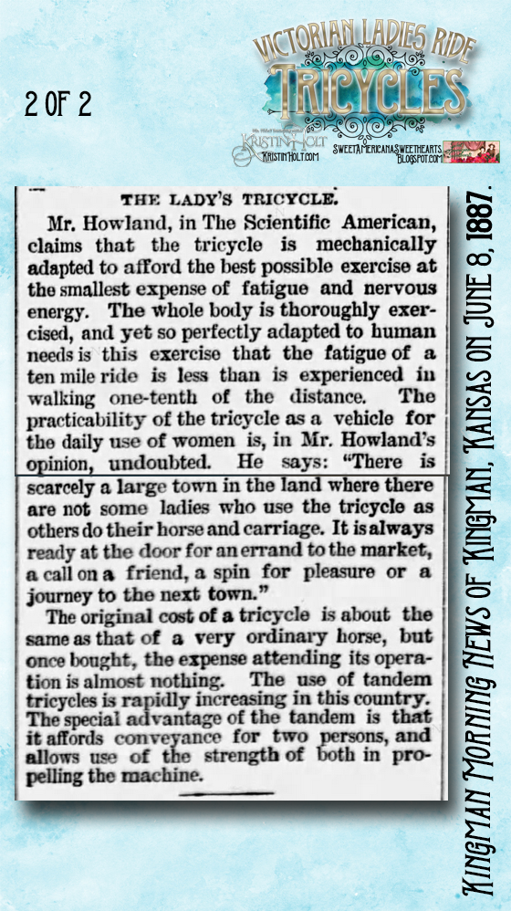 Kristin Holt | Victorian Ladies Ride Tricycles: The Tricycle as a Means of Exercise for Women, (2 of 2) from Kingman Morning News of Kingman, Kansas on June 8, 1887.