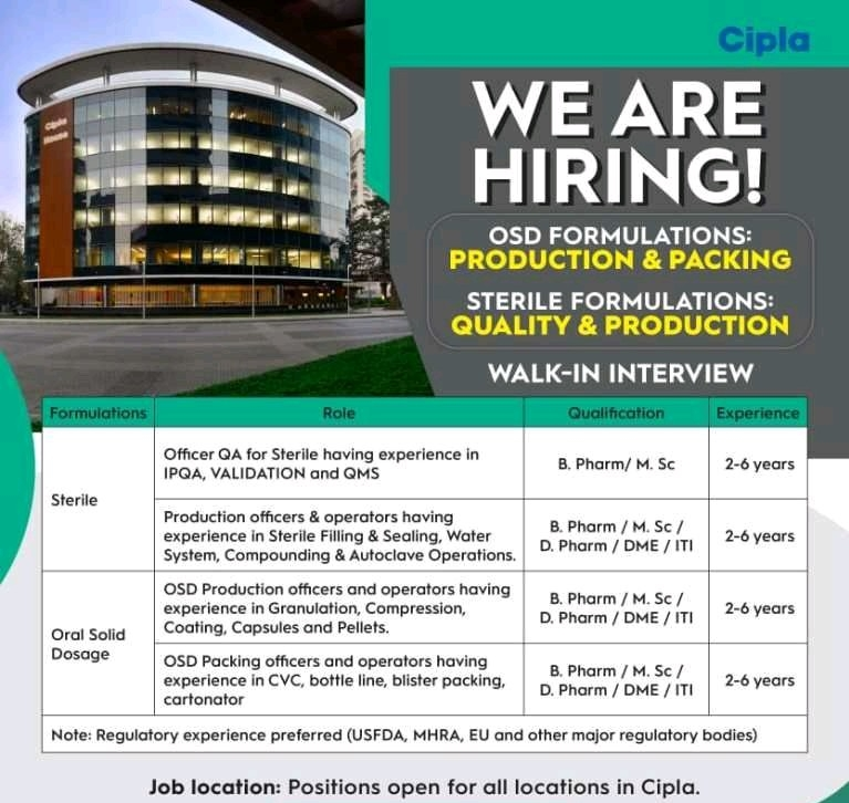 Cipla Limited Recruitment Diploma/ ITI / B.Pharm/ D.Pharm/ M.Sc      Walk-In Interviews