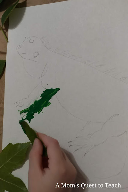 painting drawing of iguana