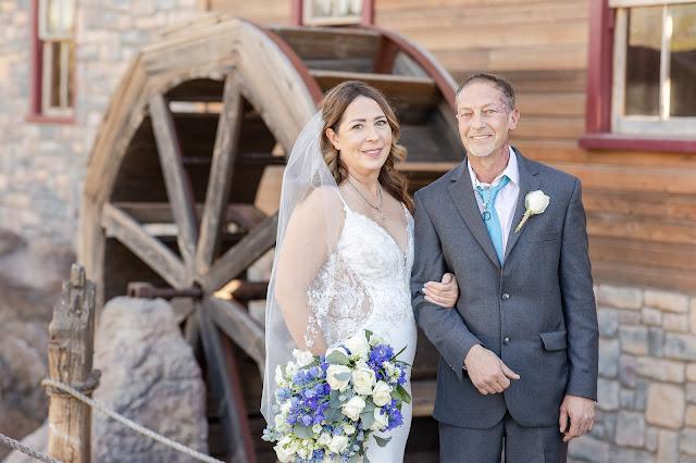 bride and groom at shenandoah mill