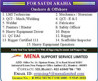 Onshore & Offshore job Vacancy for Saudi Arabia