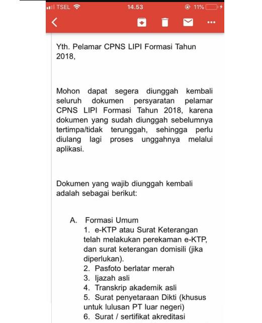 Pelamar CPNS LIPI yang Mendapat Email Notifikasi dari BKN [Wajib Kirim Dokumen Ulang]